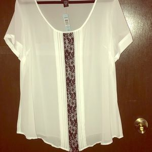 Sheer white fabric with lace stripe.